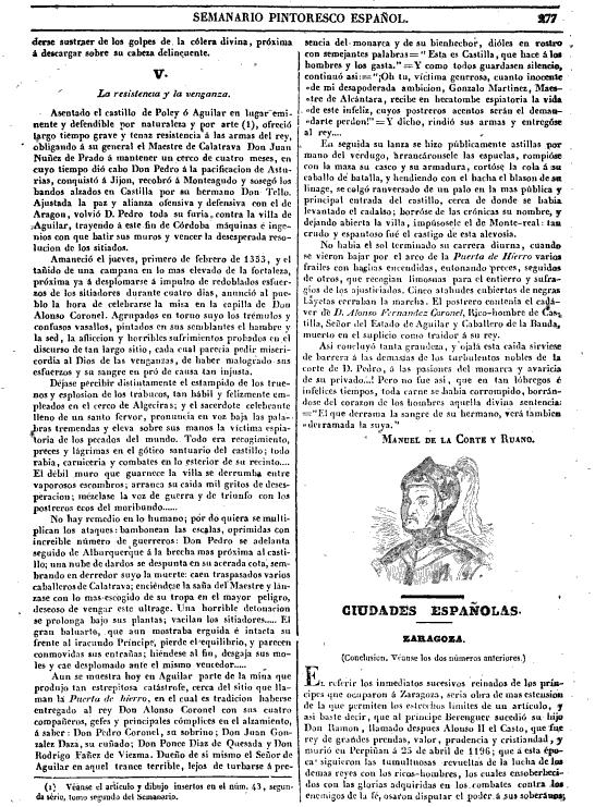 La resistencia y venganza.  Imagen extraída de Semanario pintoresco español. Manuel de la Corte y Ruano.