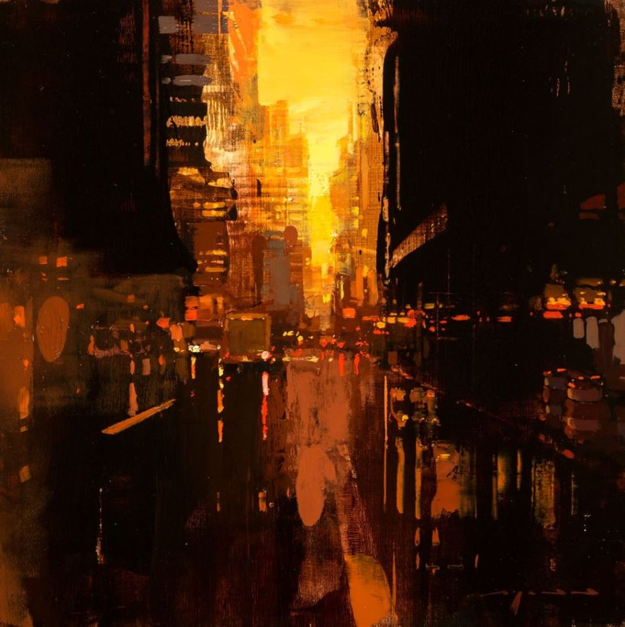 """NYC in Red no. 3"". Artist: Jeremy Mann."