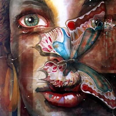 Mujer con mariposa. Artista: Vito Loli. © Todos los derechos reservados.