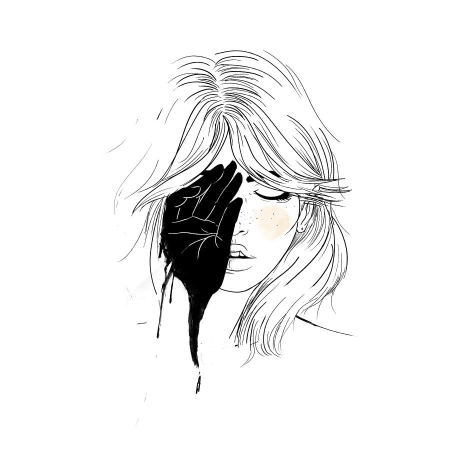 He vomitado todo lo vivido y ahora estoy vacía. Ilustración: Sara Herranz. © Sara Herranz All rights reserved | Todos los derechos reservados.