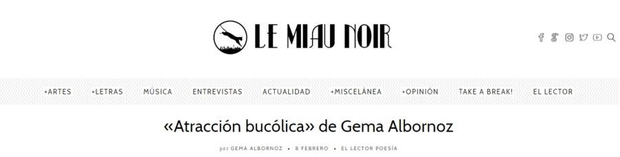 El lector; 8 de febrero: https://lemiaunoir.com/atraccion-bucolica-gema-albornoz/